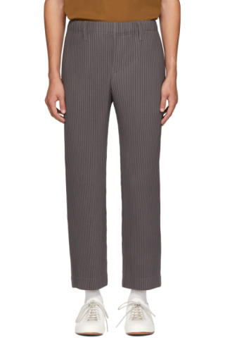Grey Tailored Pleats Trousers by Homme PlissÉ Issey Miyake