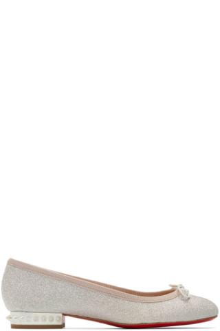 reputable site 9071d 57c04 Christian Louboutin - Silver Glitter 'La Massine' Ballerina Flats