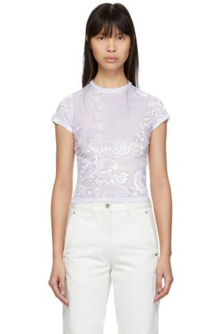Eckhaus Latta Purple Ice Floral Burnout Shrunk T Shirt