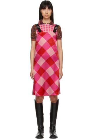 Ovelia Transtoto Pink Check Silk Dress