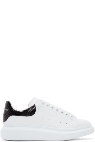 Alexander McQueen SSENSE Exclusive White and Black Python Oversized Sneakers