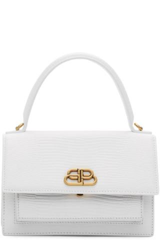 1da3e23e4 Balenciaga: White XS Sharp Satchel Bag | SSENSE UK