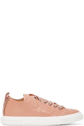 Giuseppe Zanotti Pink Croc Blabber Sneakers 201266M237015