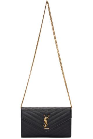 Saint Laurent Black Monogramme Envelope Chain Wallet Bag 201418F048208