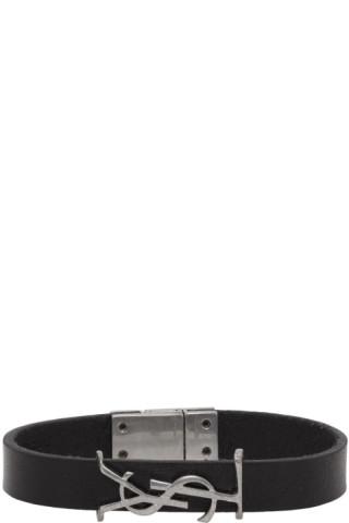 Saint Laurent Black & Silver Leather Opyum Bracelet 201418M142027