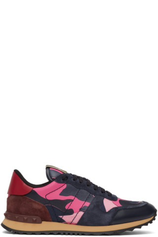 Valentino Navy & Pink Valentino Garavani Camo Rockrunner Sneakers 201476M237085
