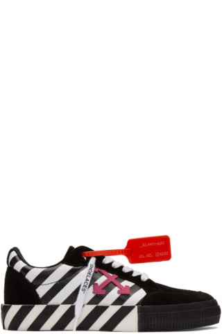 Off-White Black & White Diag Low Vulcanized Sneakers 201607M237136