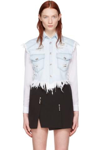 Blue Denim Cropped Distressed Vest