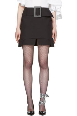 Black Buckle Miniskirt