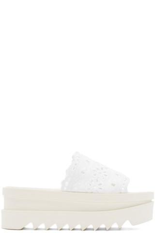 White Lace Platform Sandals