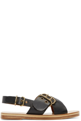 Black Leather Jaden Sandals
