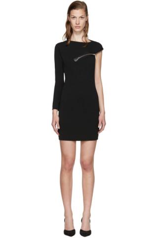 Black Wool Jersey Zip Dress