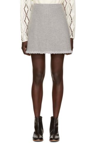 Grey Woven Chiffon Skirt