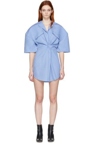 Blue 'L'Uniform' Shirt Dress
