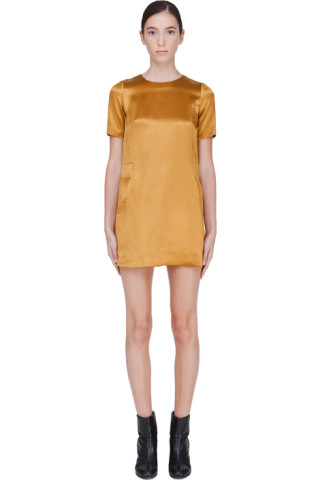 Gold Silk Blend Shift Dress
