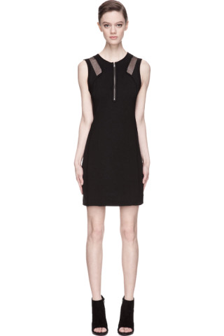 Black High Twist Crepe Mesh-trimmed Dress
