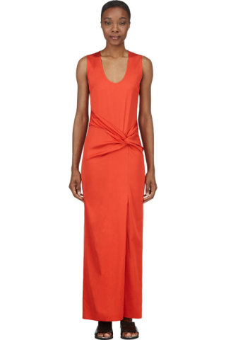Orange Twisted Knot Maxi Dress