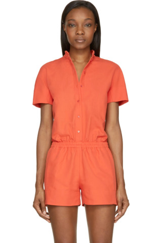 Orange Cotton Button Down Jumpsuit