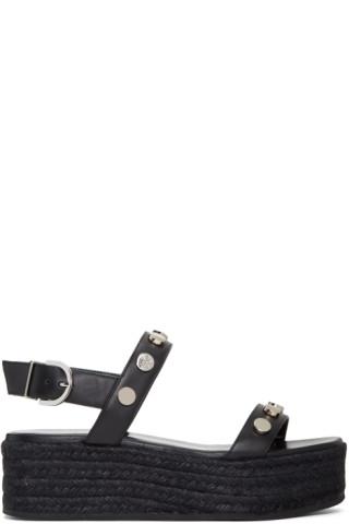 Black Flatform Espadrille Sandals