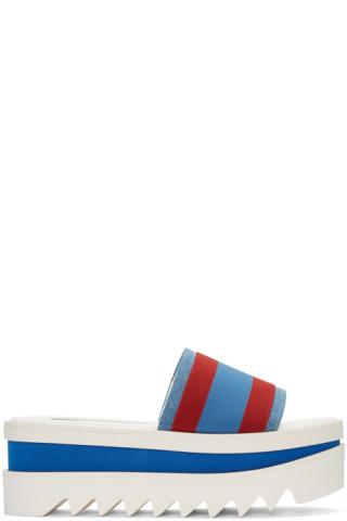 Red & Blue Striped Flatform Sandals