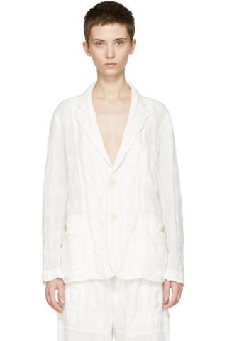White Linen Check Blazer