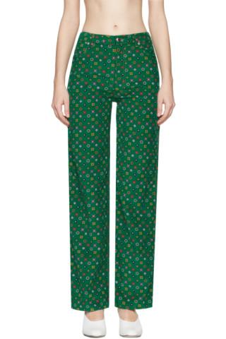 Green Printed Corduroy EL Trousers