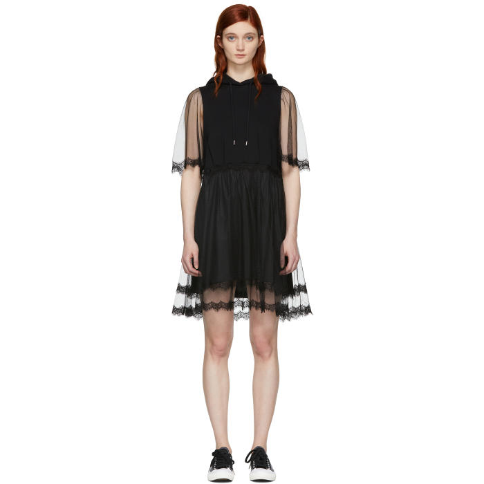 Black Hybrid Hoodie Dress Alexander McQueen