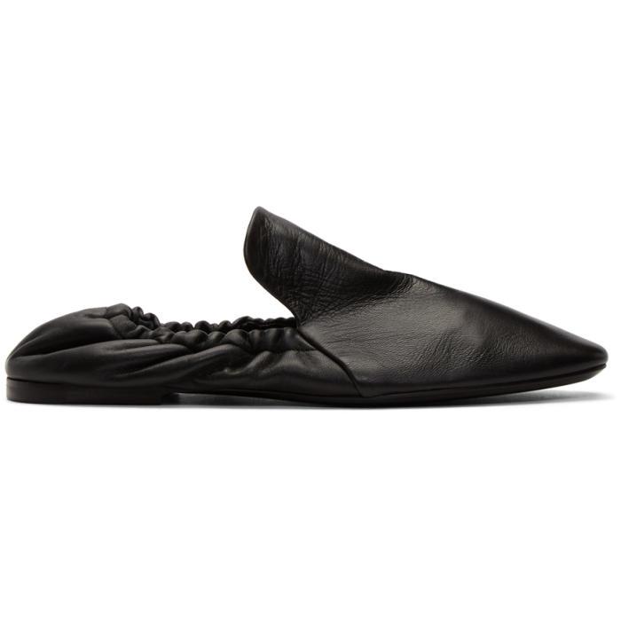 Jil Sander Black Fur Princetown Slippers