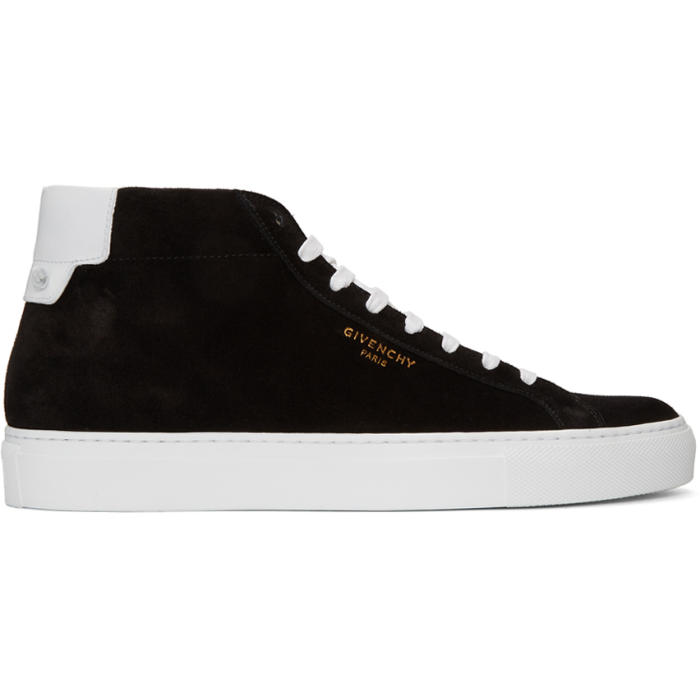 Black and White Suede Urban Knots Mid-Top Sneakers Givenchy