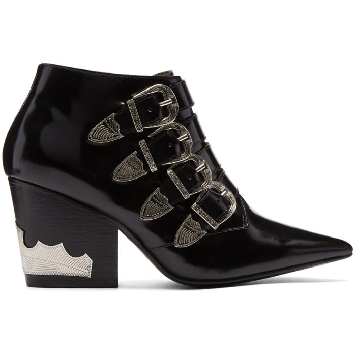 YEEZY Black Four-Buckle Western Boots