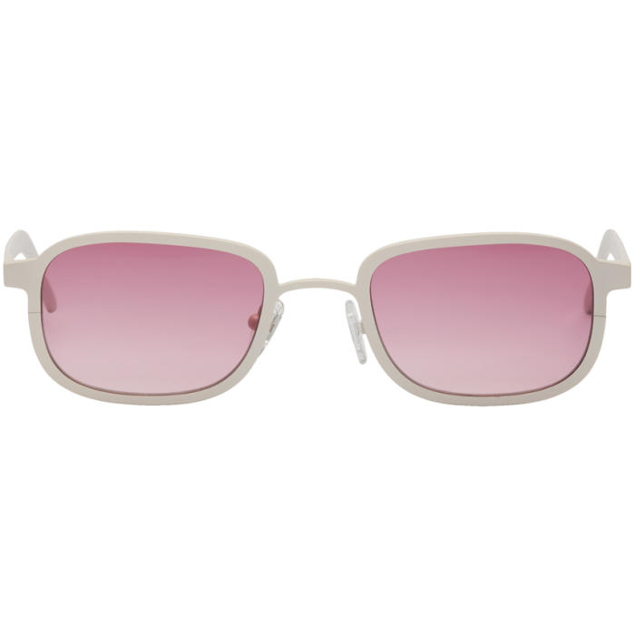 Blyszak SSENSE Exclusive White & Pink Square Collection III Sunglasses