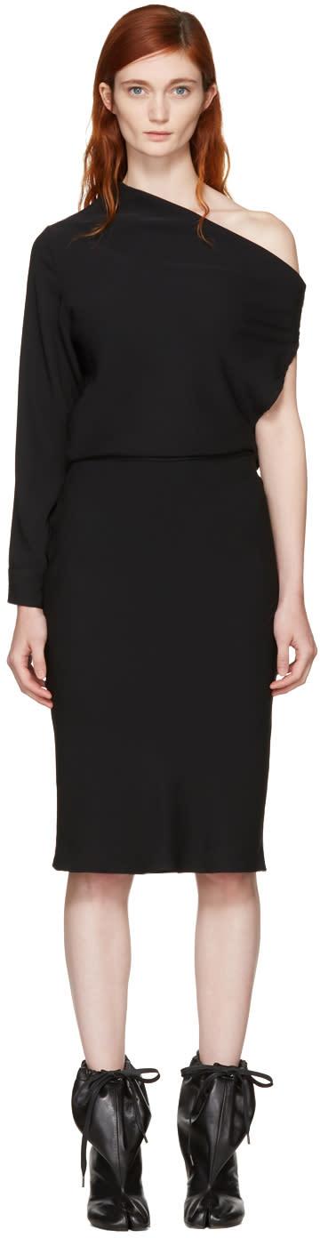 Mm6 Maison Margiela Black Fluid Single-sleeve Dress