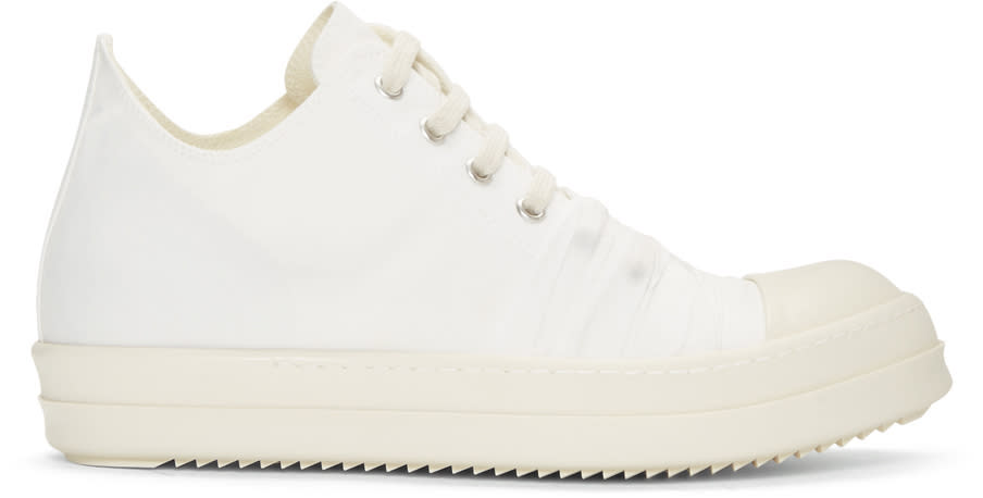 Rick Owens Drkshdw White Canvas Low Sneakers