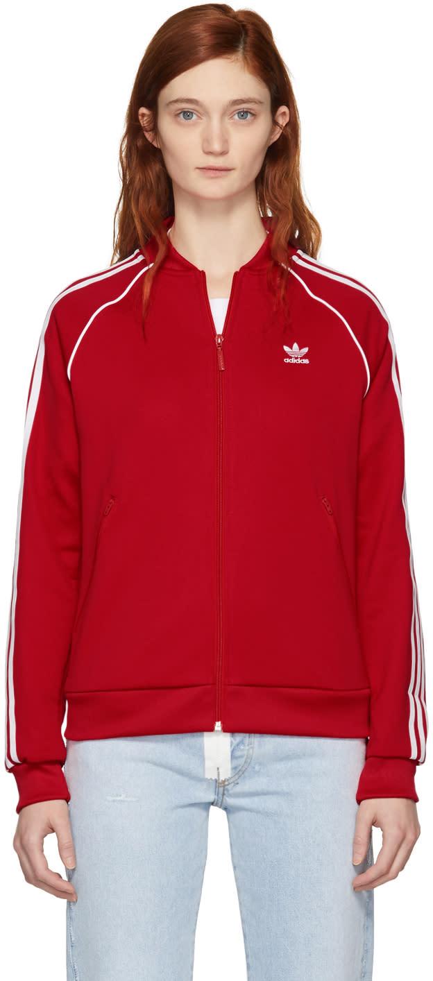 Adidas Adicolor Superstar Track Jacket in Radiant Red