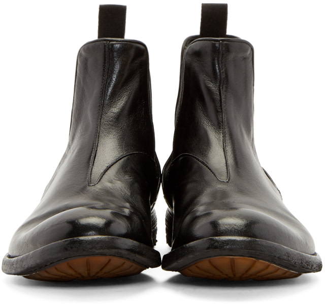 Officine Creative Black Leather Archive Chelsea Boots