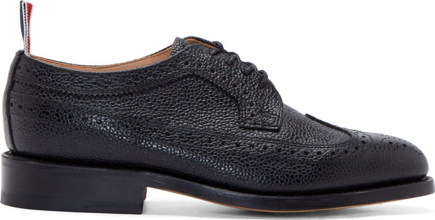 Black Pebbled Leather Longwing Brogues from Antonioli