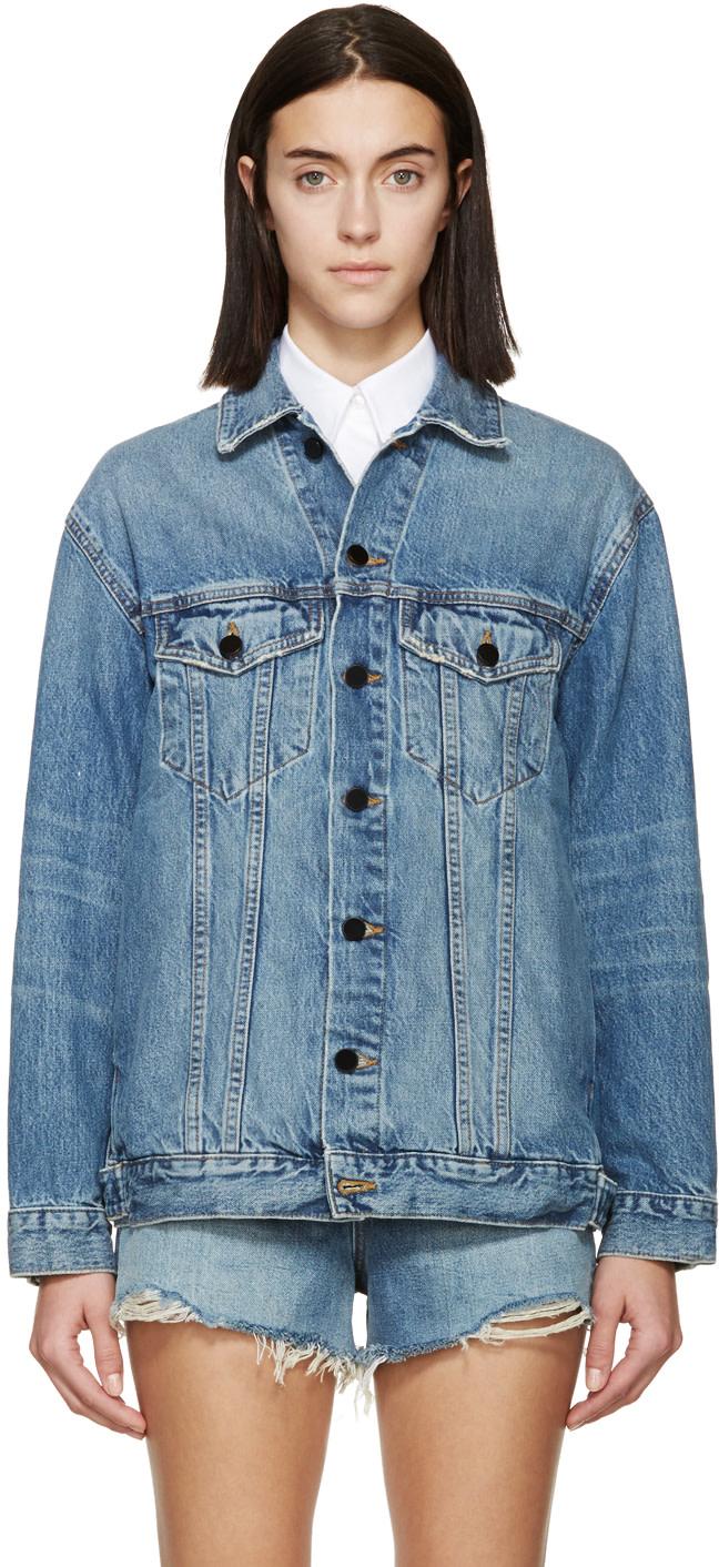 Woman Daze Oversized Denim Jacket Mid Denim in Blue