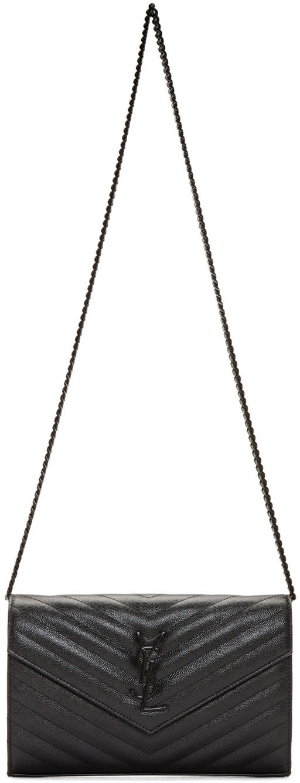 Saint Laurent Black Quilted Monogram Chain Wallet