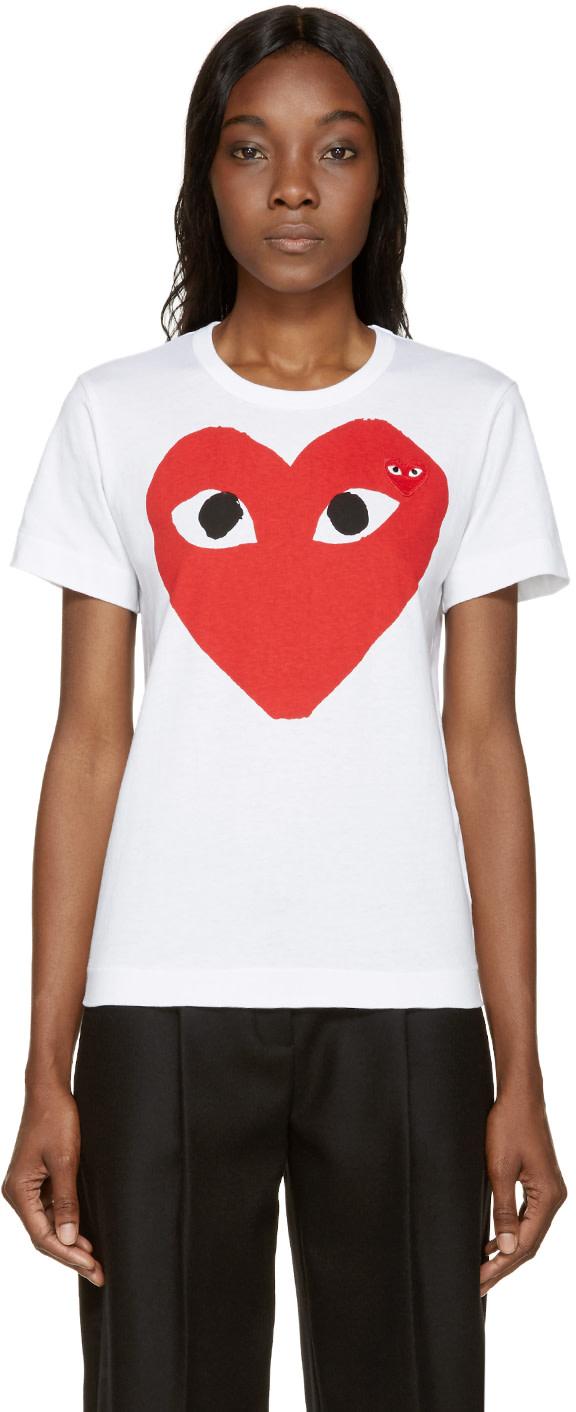 Comme des Garçons Play White Double Heart T-Shirt