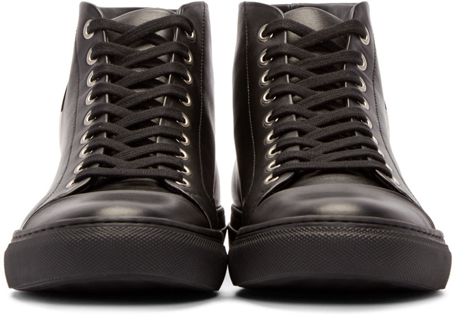 Versus Black Leather Lion Head High-Top Sneakers