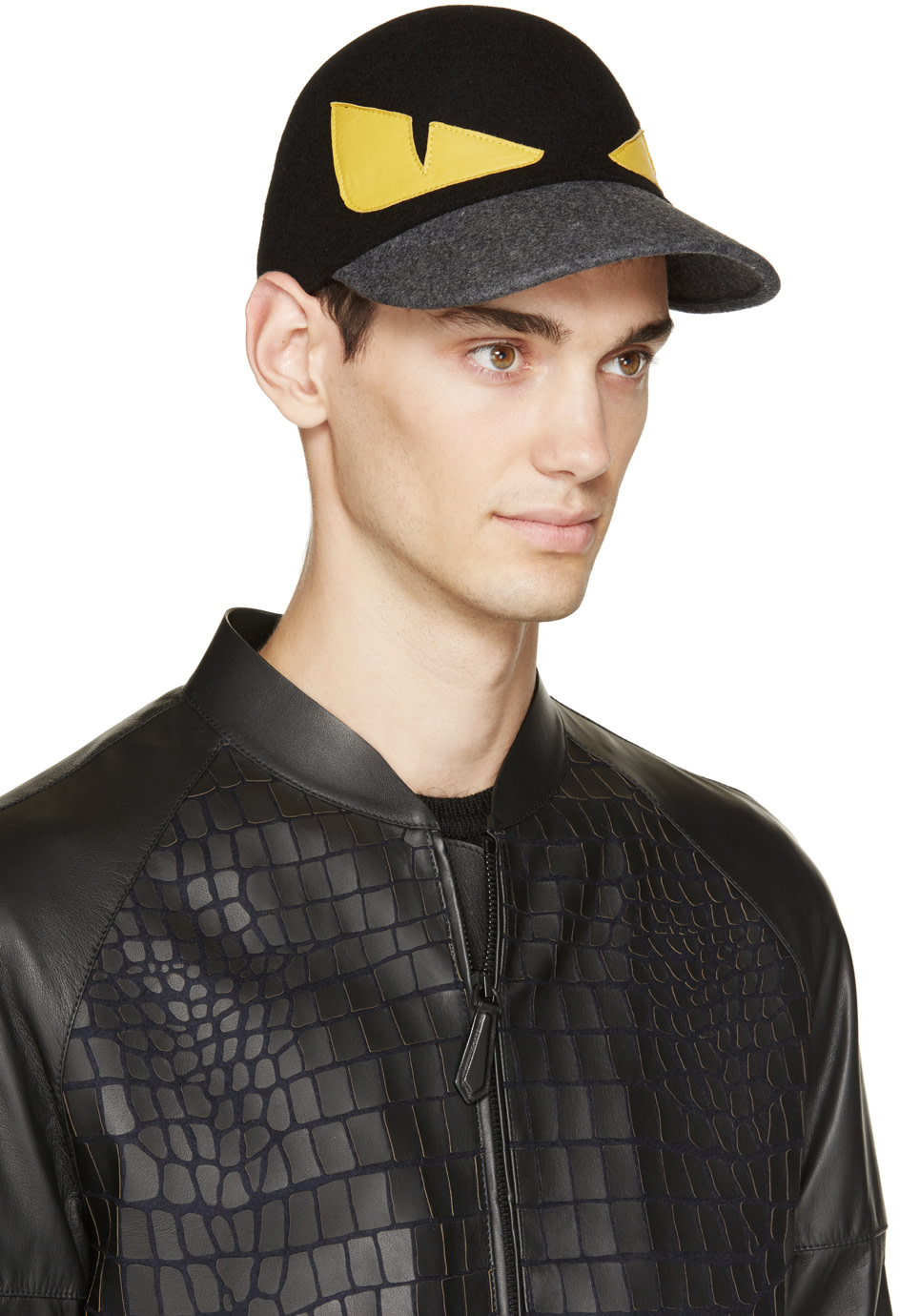 Fendi Black Wool & Leather Monster Cap