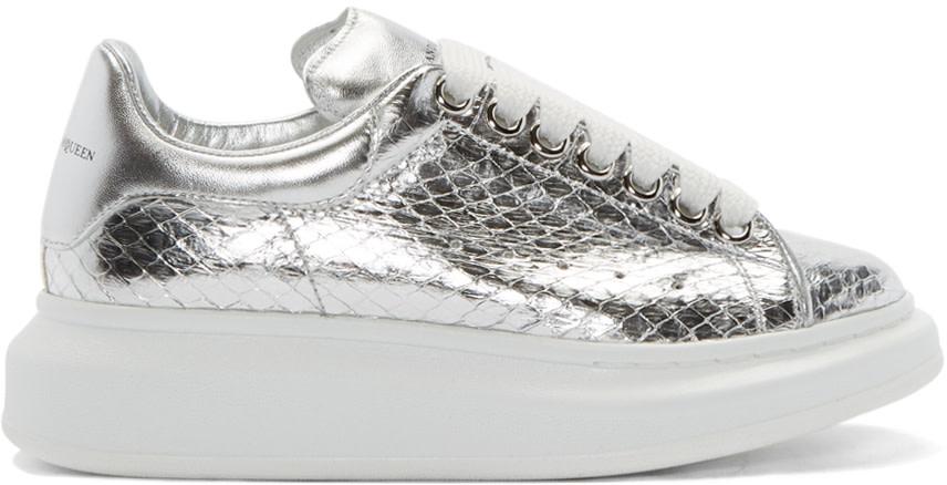 Alexander McQueen Silver Snakeskin Sneakers