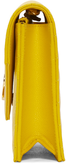Monogram Saint Laurent Envelope Chain Wallet In Pale Gold Lizard Embossed Metallic Leather