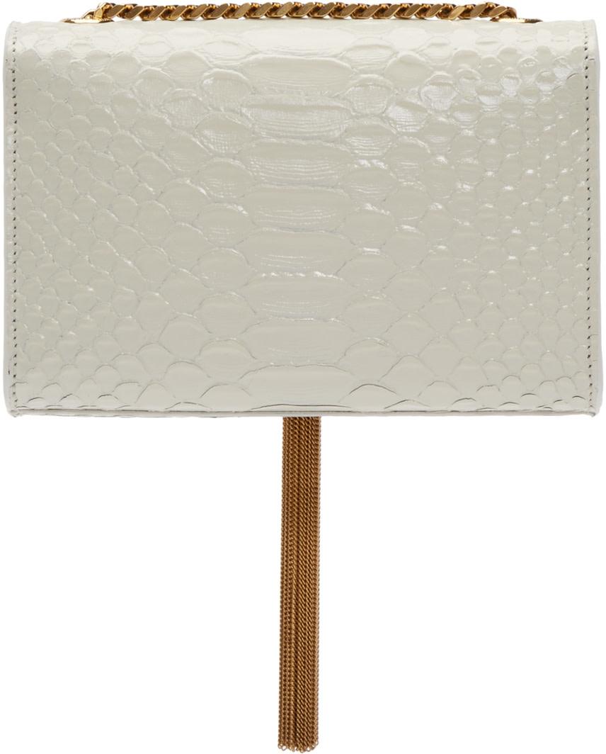 Classic Medium Monogram Saint Laurent Satchel In Dove White Grain De Poudre Textured Leather