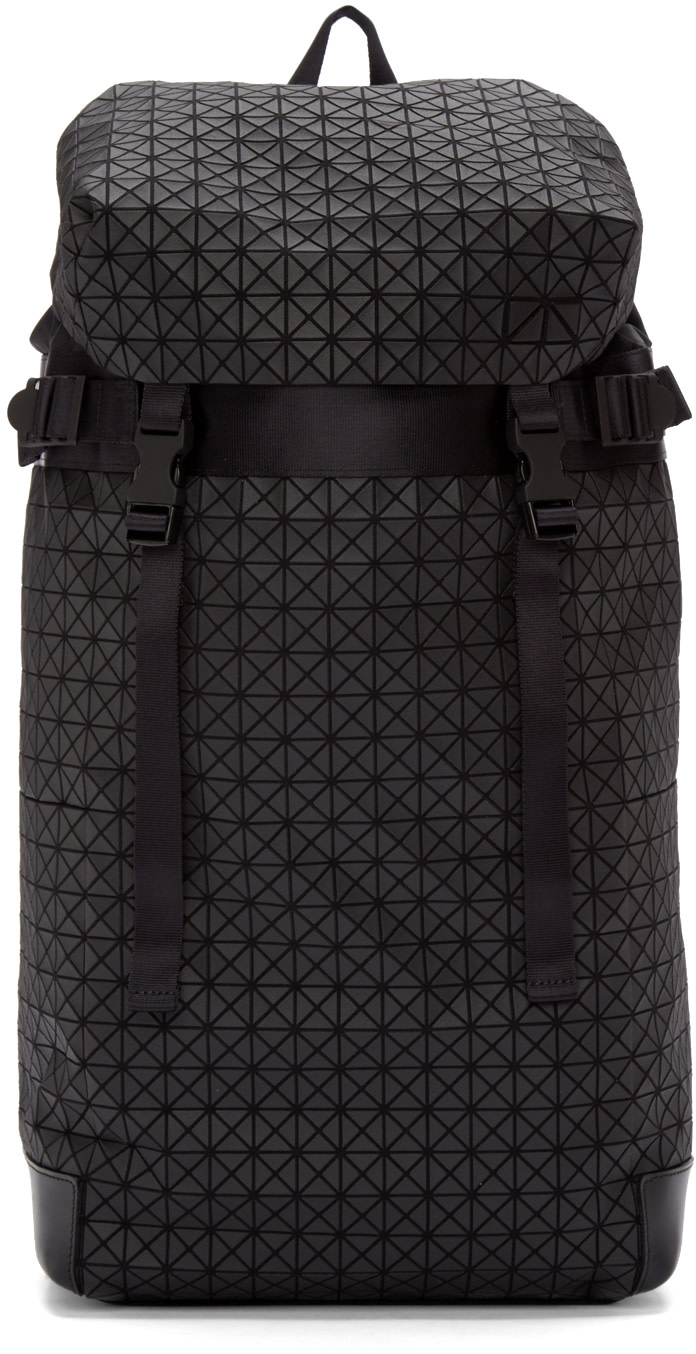 Bao Bao Issey Miyake Canvases Black Geometric Matte Hiker Backpack
