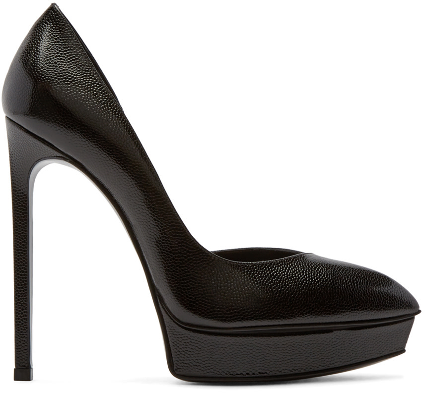 Saint Laurent - Black Leather Platform D'Orsay Janis Pumps
