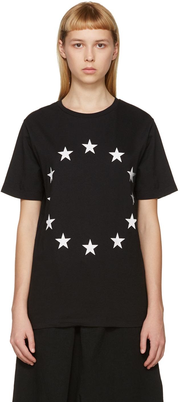 ETUDES STUDIO Europe Printed Cotton Jersey T-Shirt in Black