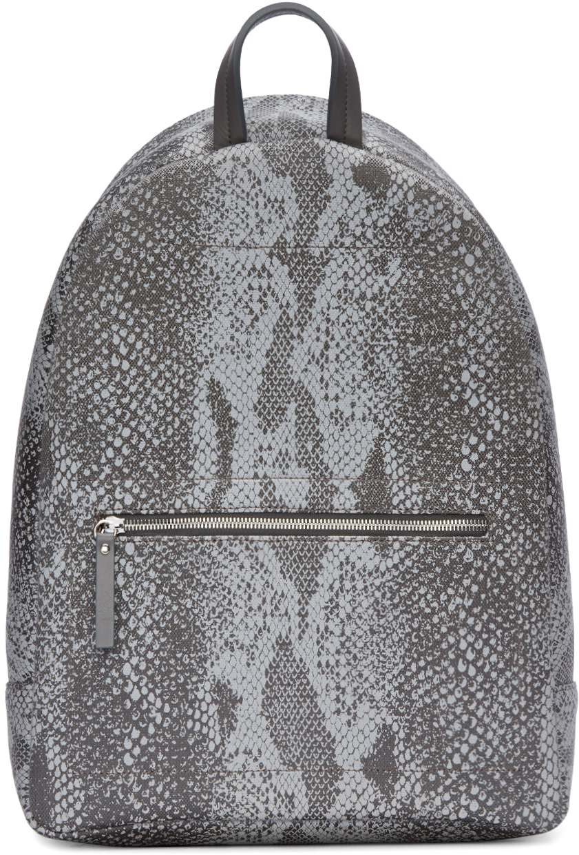 Maison Martin Margiela - Grey Reflective Python Print Backpack