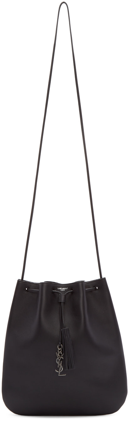 Saint Laurent Black Leather Jen Flat Shoulder Bag