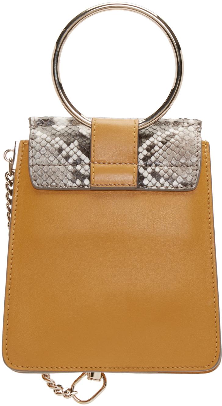chloe tan fringed mini bracelet bag